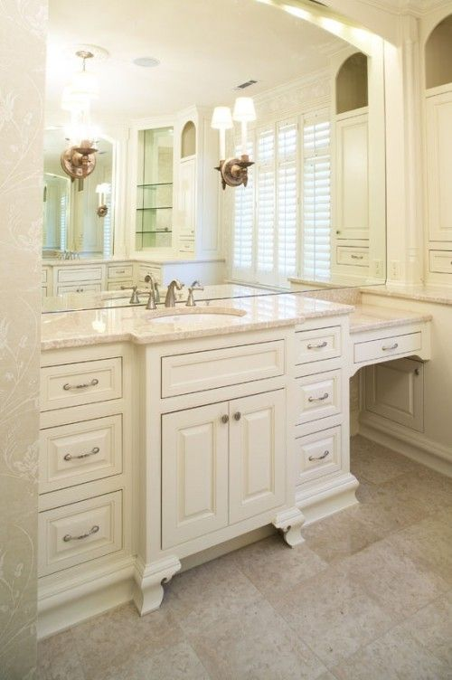 Varying Depths Of Cabinets Love The Space At The End For A Chair For A Vanity Master Bathroom Vanity Master Bath Vanity Bathrooms Remodel