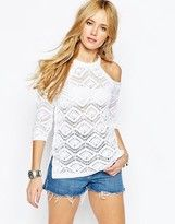 bf9df3fc2b53a0 Asos Crochet Sweater With Cold Shoulder