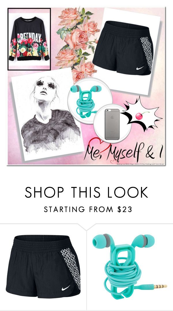 """""""just me alone"""" by altrisa-mulla ❤ liked on Polyvore featuring NIKE, GE and Native Union"""
