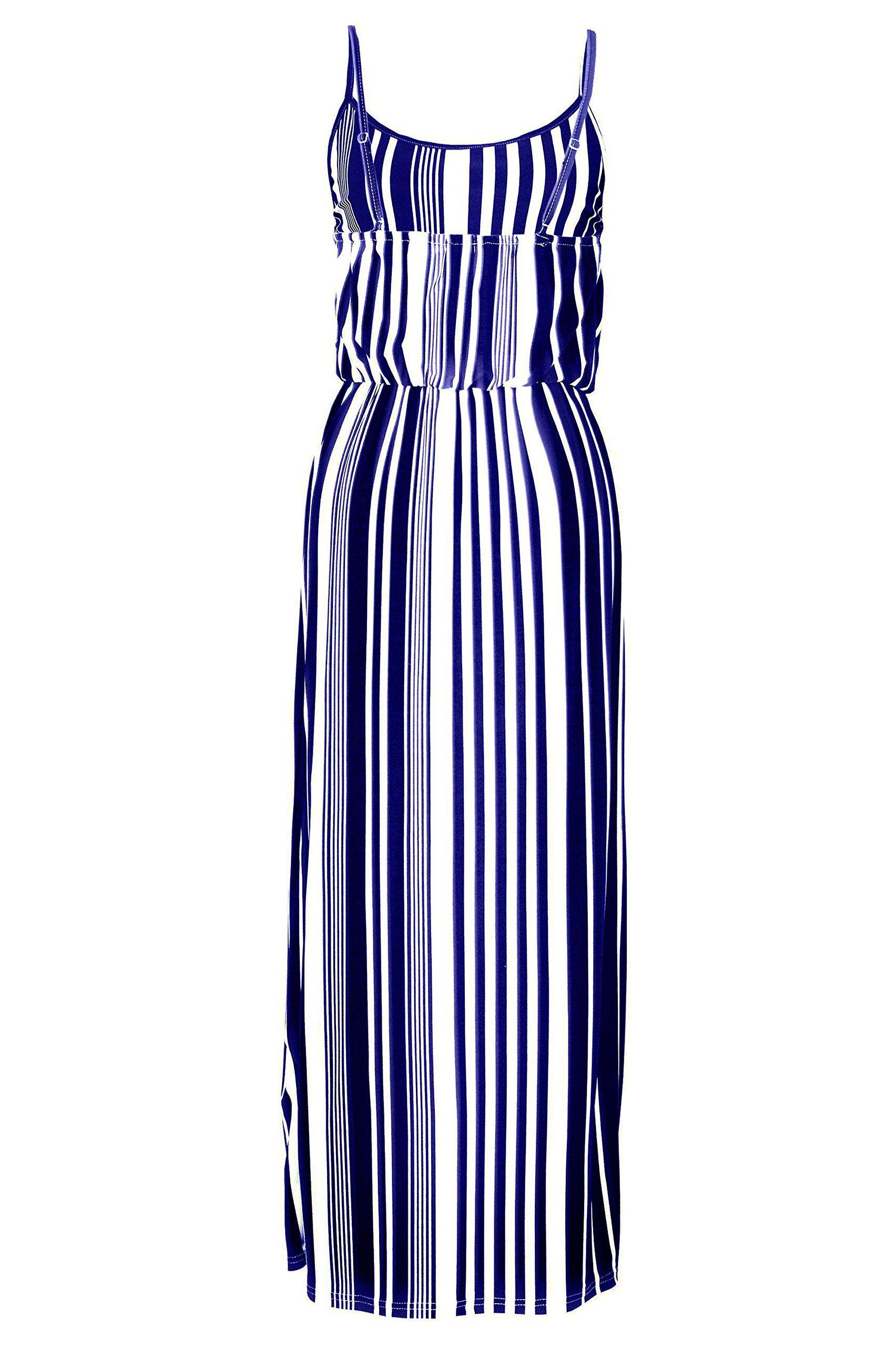 G2 Chic Women's Striped Summer Maxi Dress(DRS-MAX,BLU-M)