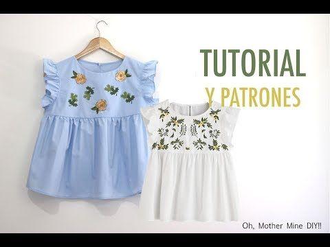 1f0e7fb9e Costura de ropa para mujer  Blusa bordada (patrones gratis) - YouTube