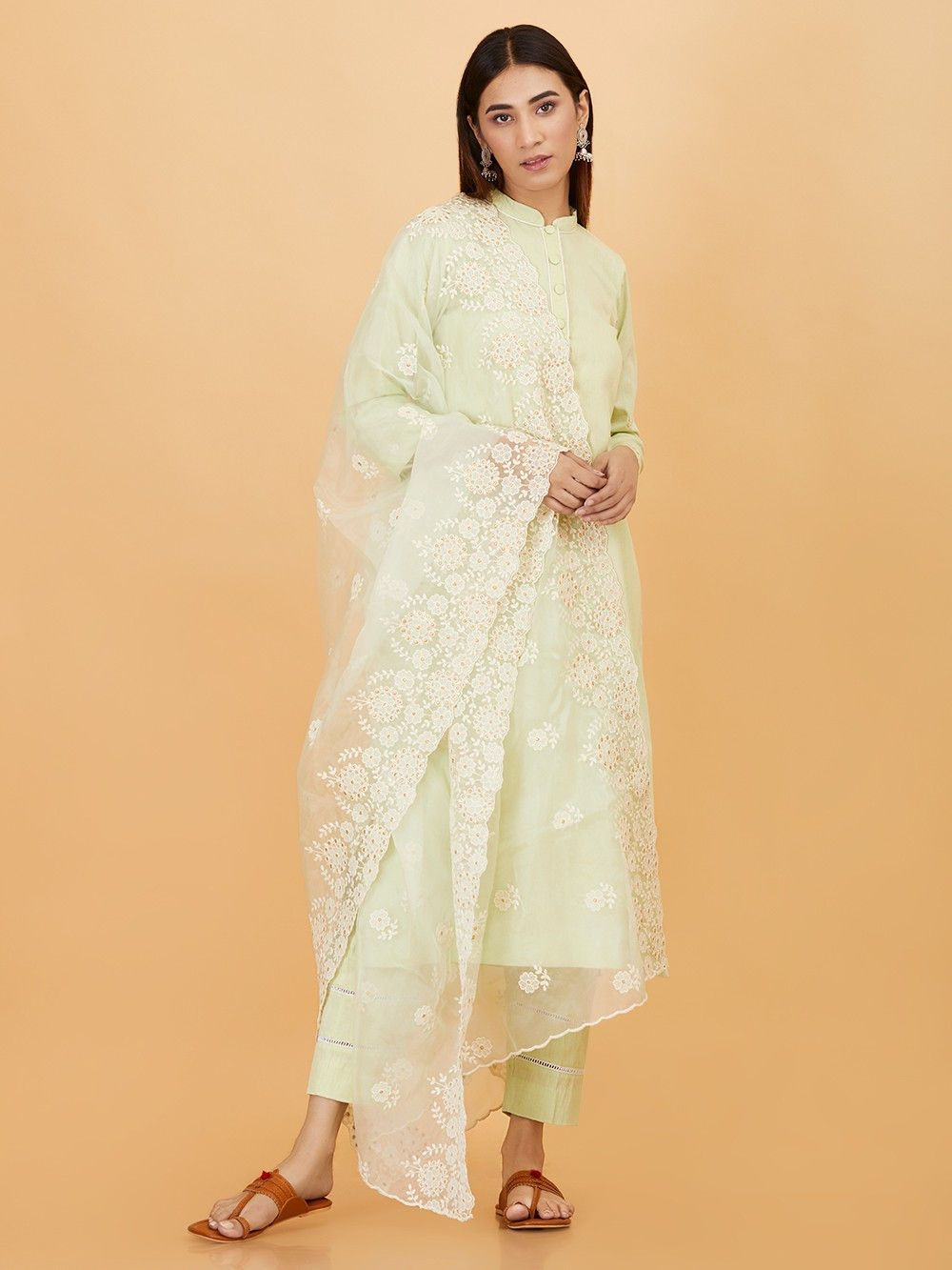 4c855553fd Buy Pastel Green Embroidered Organza Dupatta online at Theloom ...