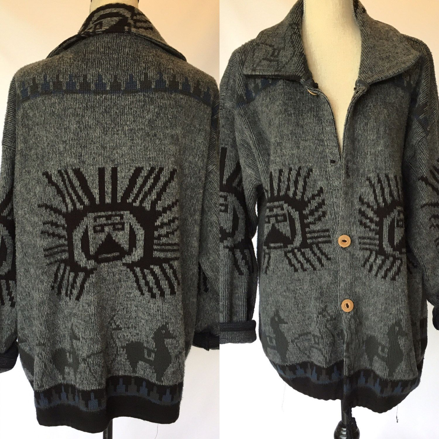 Woven Sun Wool Knit Sweater Cardigan menz womens vintage fuzzy ...