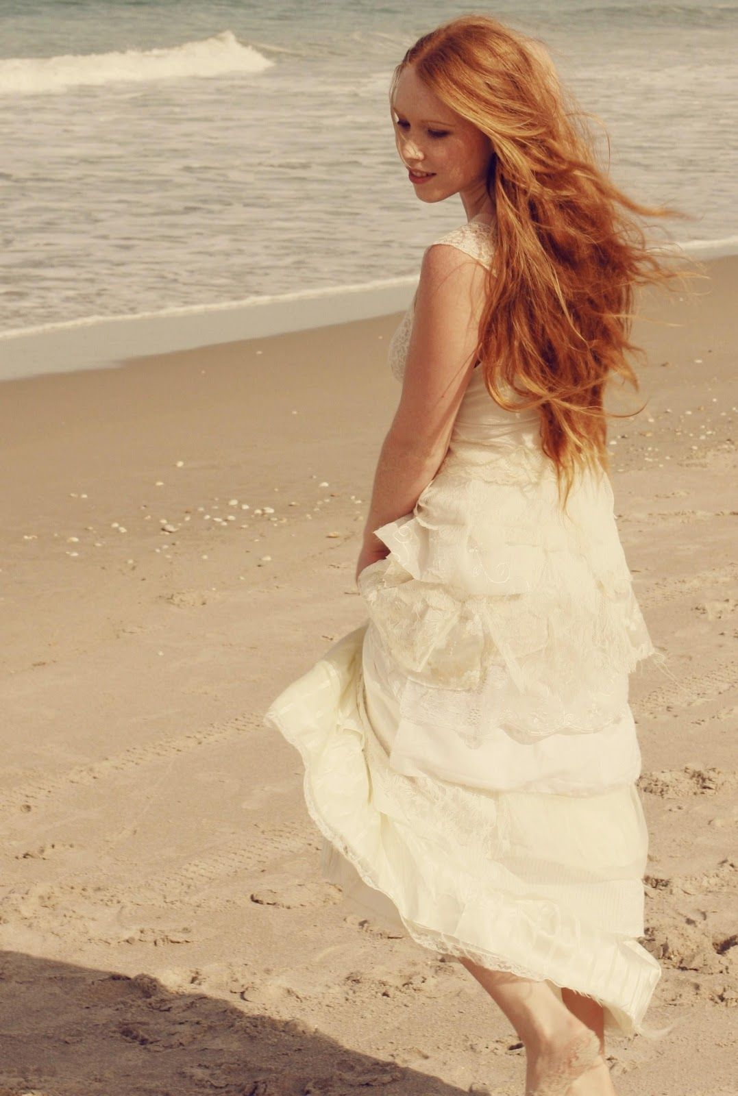 tattered ranch beach wedding gown