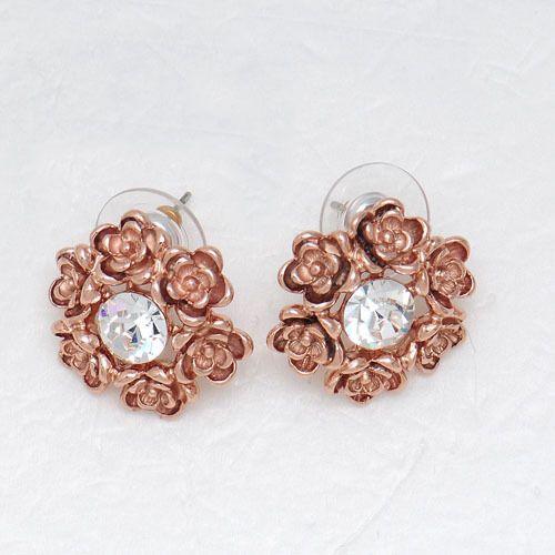 Viennois 18K GP rose gold flowers Swarovski Crystal stud earrings