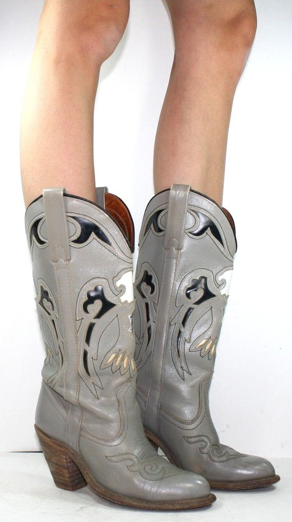ab04bbc451f Vintage Miss CAPEZIO inlay high heel eagle cowboy tall knee high mid ...