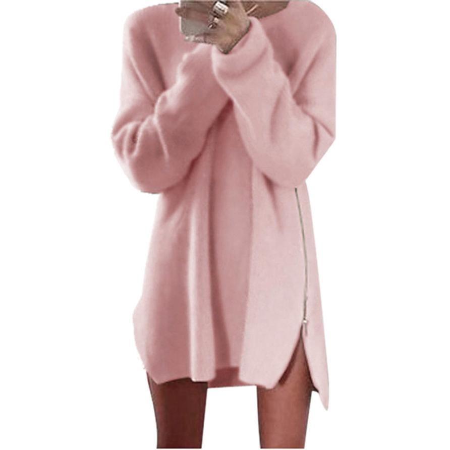 Click to buy ucuc autumn winter women dress long sleeve side zip
