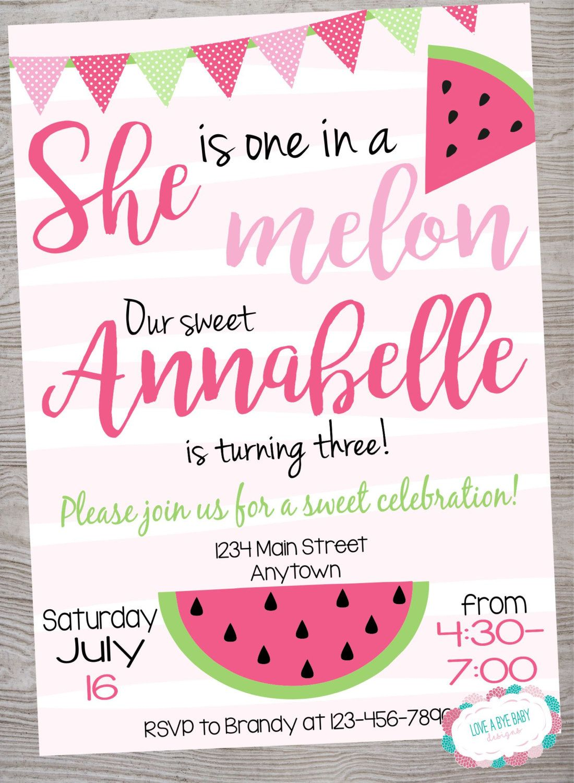 watermelon birthday party invitation printable digital file by
