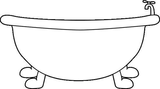 Black And White Bathtub Clip Art Image Black And White Outline