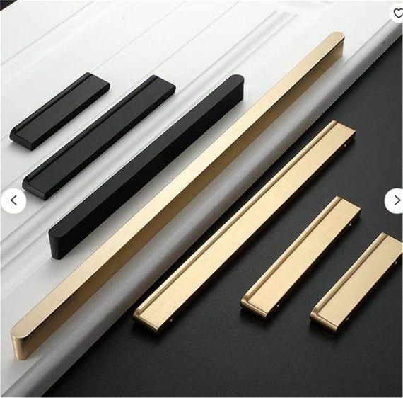3.75/'/' 5/'/' 6.3/'/' 7.55/'/' Black Cabinet Door Handles T Knob Polished Gold Dresser Pull Drawer Knobs Pulls Modern Kitchen Cabinet Hardware Pull