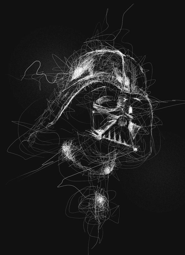 Scribble Drawing Portraits Super Heroes And More Darth Vader Art Star Wars Art Star Wars Wallpaper