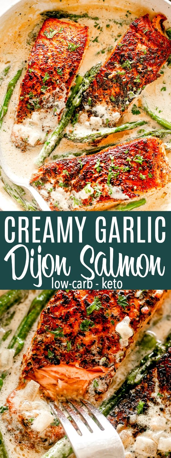 Creamy Garlic Dijon Salmon - Juicy, flaky, and flavorful salmon fillets pan seared in a delicious cream sauce with dijon mustard and garlic. Crispy on the outside and tender on the inside, everyone absolutely loves this salmon recipe. The creamy sauce is unbelievably good! #salmonrecipes #creamsauce #lowcarb #keto #salmonrecipes