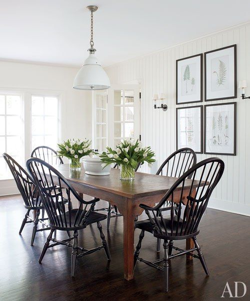 Classic Black Windsor Chairs In Victoria Hagan's Connecticut Cool Dining Room Sets In Ct Design Decoration