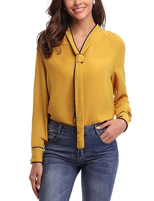 b02baf7ed Abollria Chemisier Femme Manches Longues Col v Chic Cravate Blouse ...