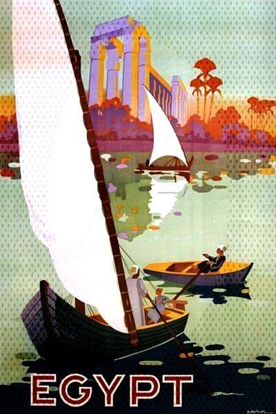 EGYPT ARAB ARABIC NILE RIVER SAILBOAT BOAT TRAVEL TOURISM VINTAGE POSTER REPRO   eBay -  -
