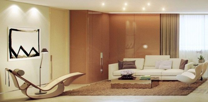 Glossy Finishes Add To The Contemporary Luxury In This Sophisticated Room Contemporary Decor Living Room Brown Living Room Perfect Living Room