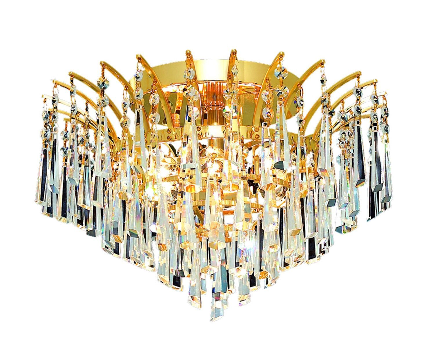 Elegant Lighting - 8032 Victoria Collection Flush Mount D16in H10in Lt:6 Gold Finish (Royal Cut Crystals)
