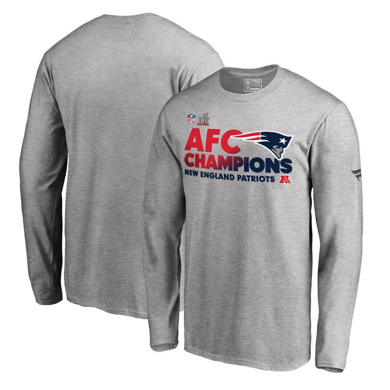 New England Patriots NFL Pro Line by Fanatics Branded Big & Tall 2016 AFC Conference Champions Trophy Collection Locker Room Long Sleeve T-Shirt  - Heathered Gray