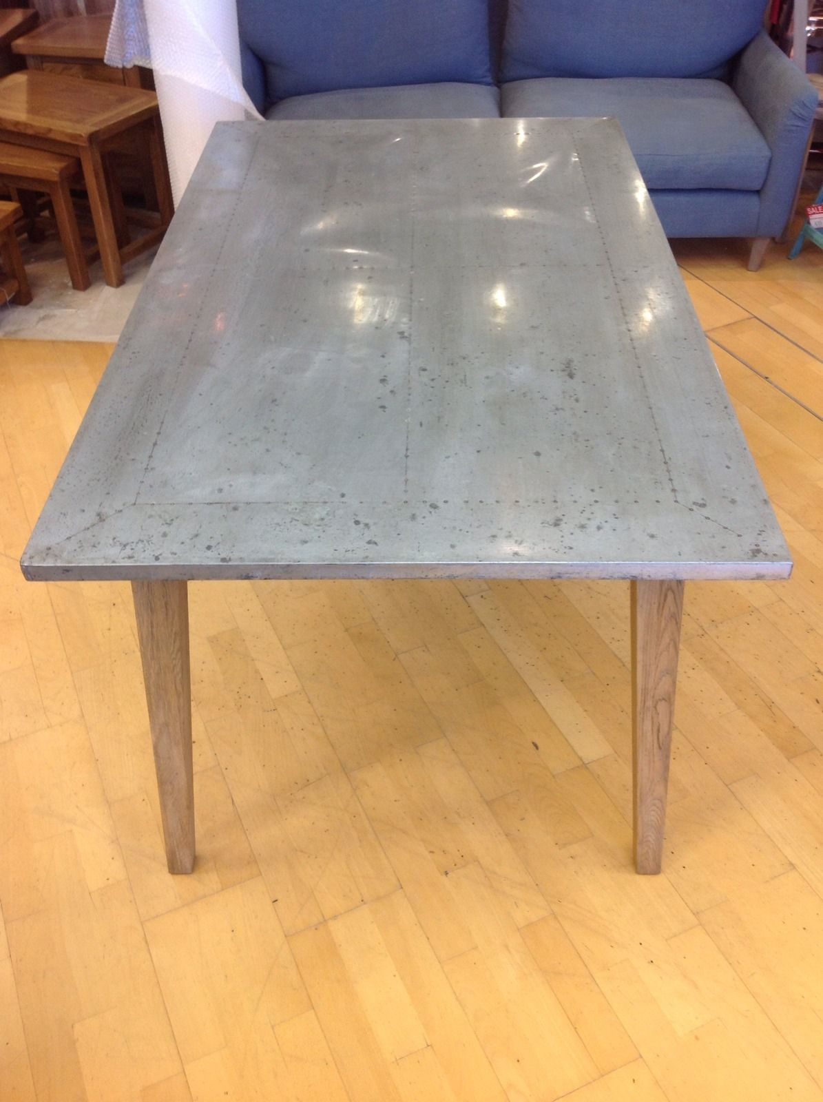 Medium Daddy Zinc Top Oak Dining Table with oak frame | eBay ...