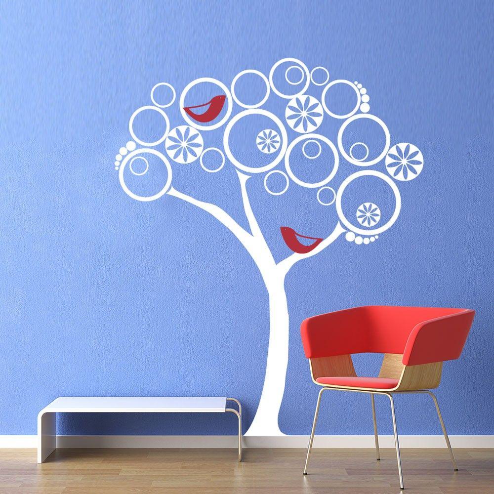 Vinyl Wall Decal Sticker Art Modern Abstract Tree With Birds - Vinyl wall decals abstract