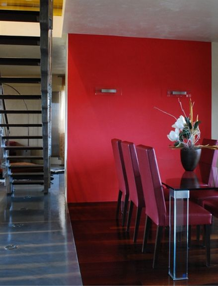 Architecture. Casa TC. duplex renovation. A project by OfficineMultipo. #scala #staircase steel staircase, sedie rosse, red chair, red wall