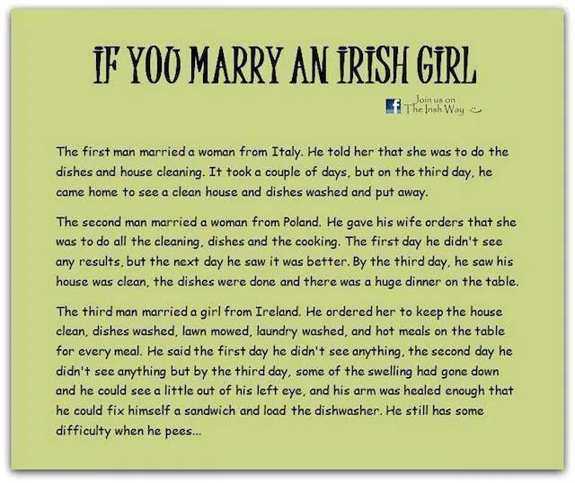 If you marry an Irish girl | Irish funny, Irish girls