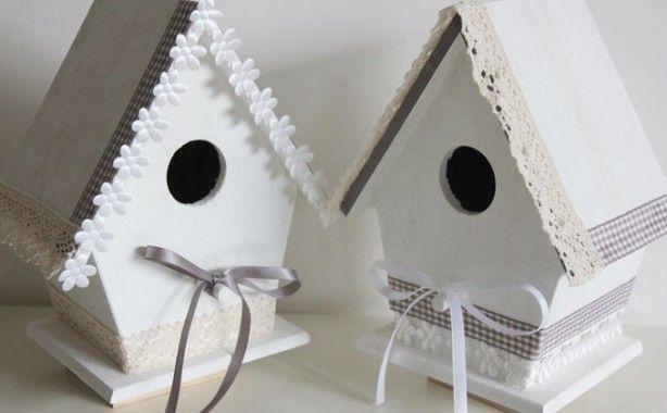 Mooie romantische vogelhuisjes gemaakt door Mijnkinderkamer.nl.