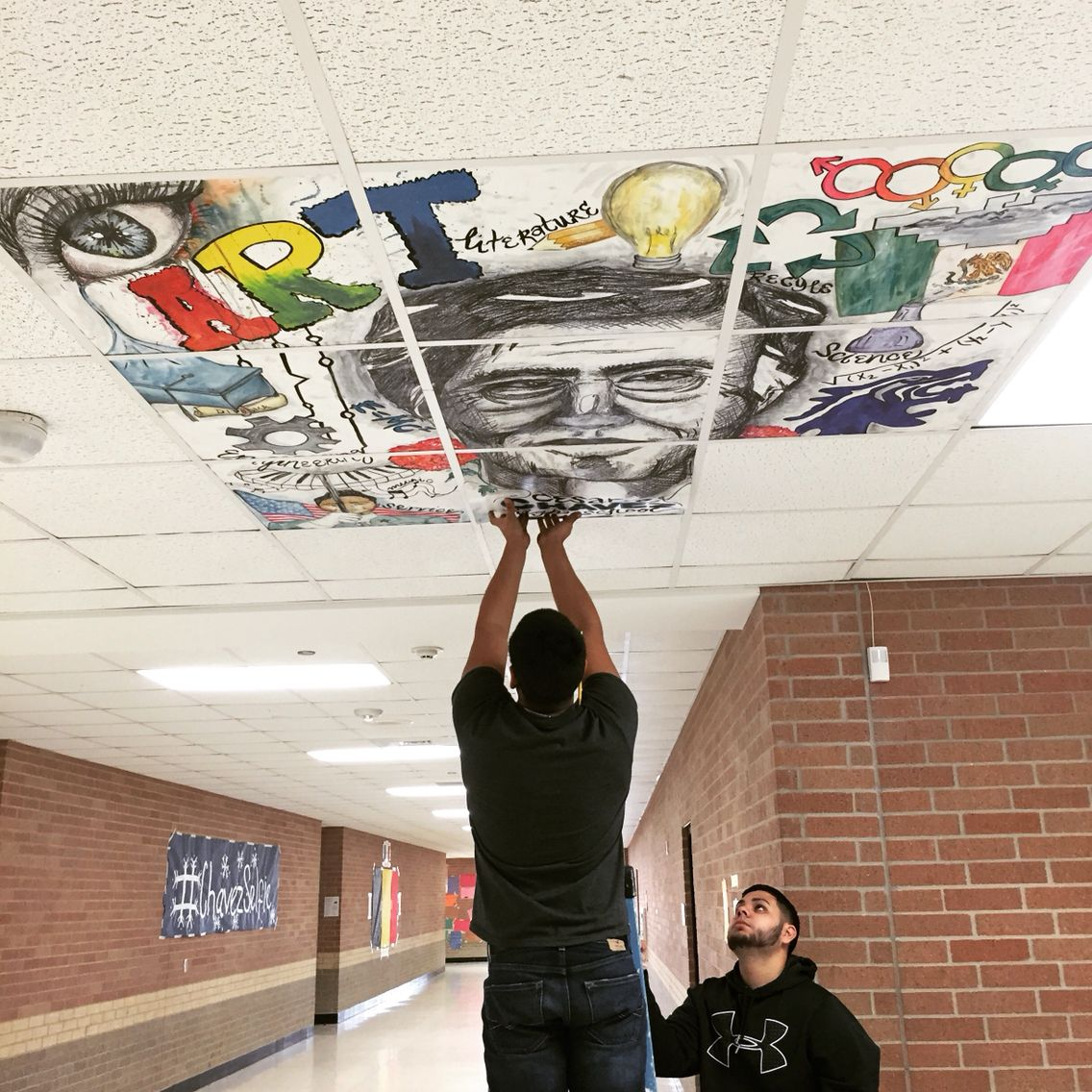 Collaborative Ceiling Murals Done By My Art Students