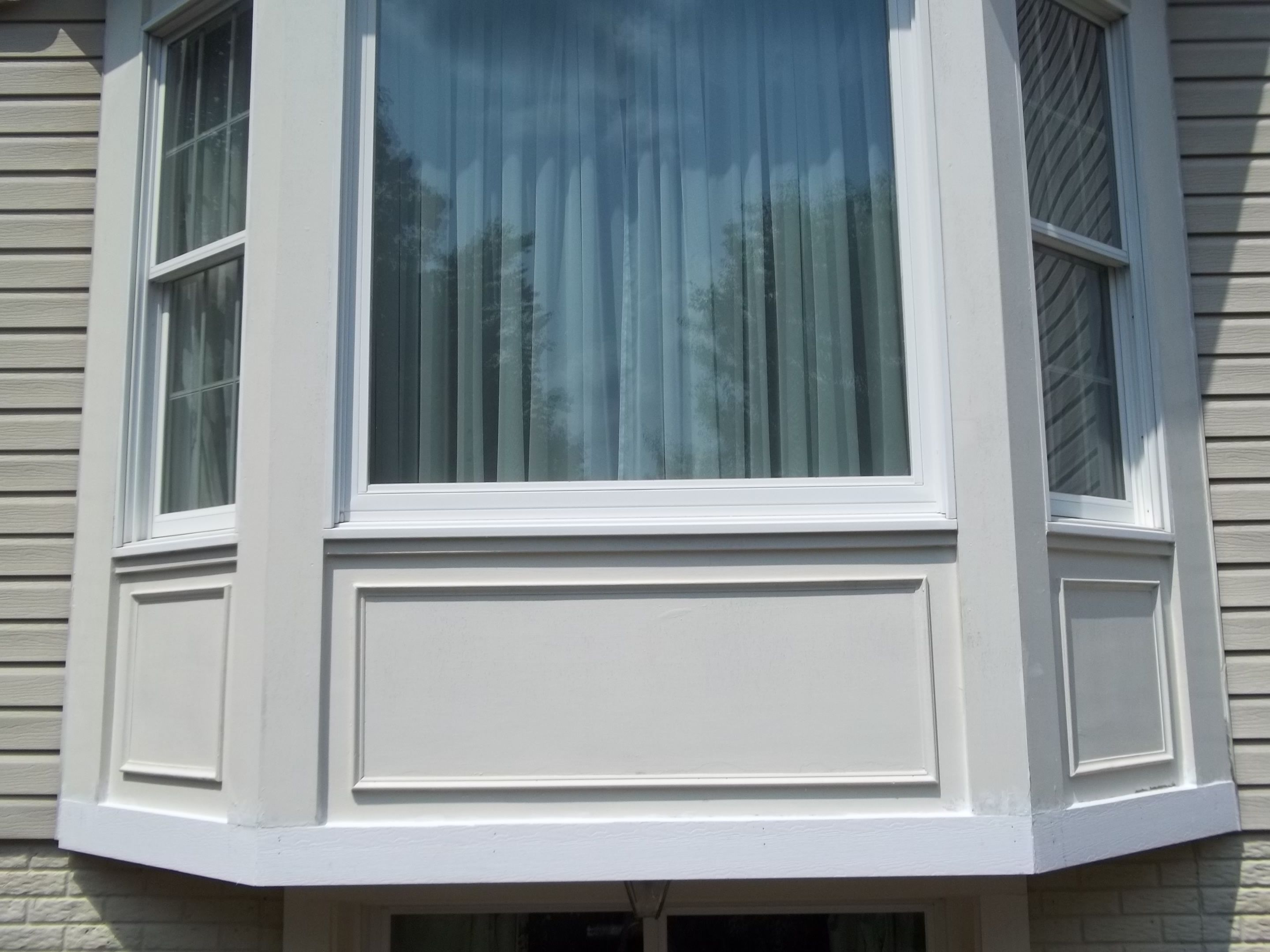After Photograph Of Completed Pvc Trim Installation Of Rear Bay Window Bay Window Exterior Facade House Bay Window