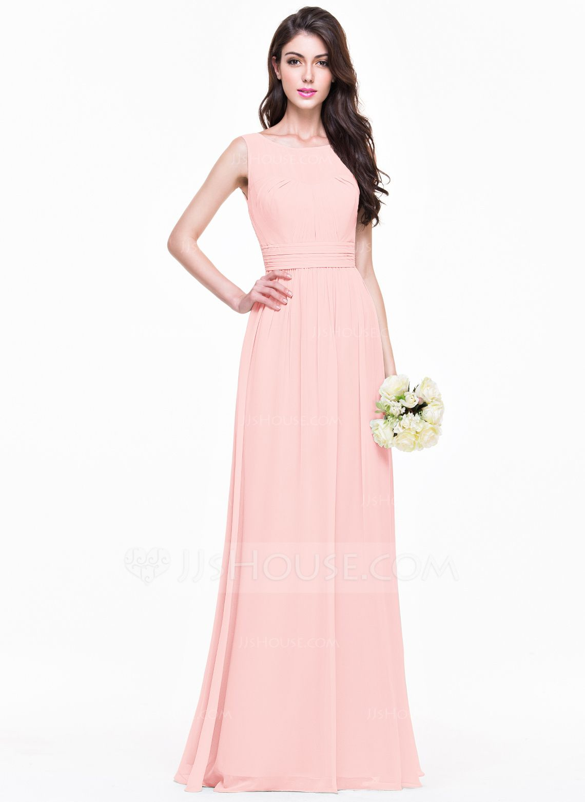 A-Line/Princess Scoop Neck Floor-Length Chiffon Bridesmaid Dress ...