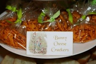 Why didn't I think of this!  Bunny Crackers for a Peter Rabbit themed party.