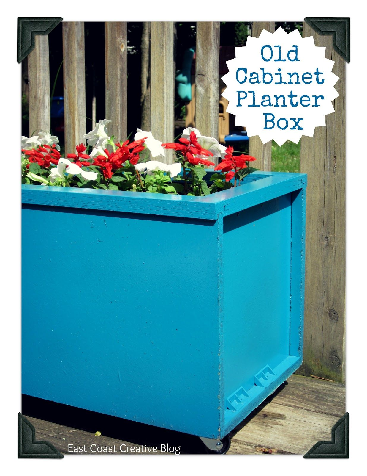 Use an old kitchen cabinet to make an outdoor planter!