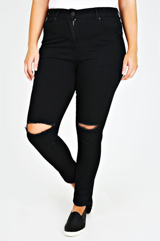 45afc703aa Black Stretch Skinny Jeans With Ripped Knee | Shopping bag | Plus ...