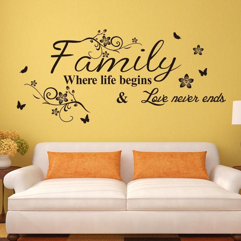 Amaonm® Removable Vinyl Quotes \'Family Where Life Begins, Love Never ...