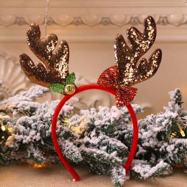 Christmas Headbands Hat Fancy Dress Reindeer Antlers Santa Xmas Party Kids Adult