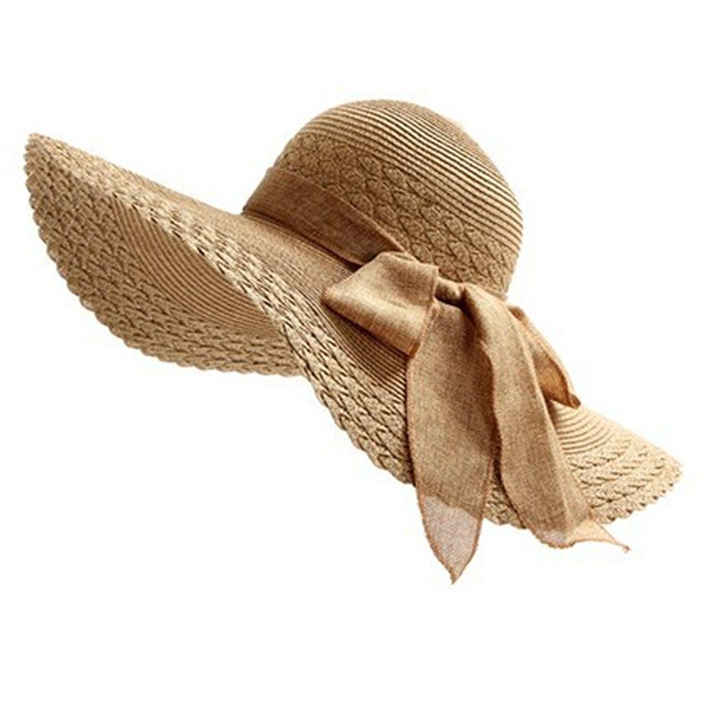 Ladies Bold Cursive Sunhat Foldable Floppy Summer Outdoor Hat Beach Cap Sun Visor With Big Bow Coffee Cq182h6y3cd Summer Hats Floppy Hats Sun Hats For Women