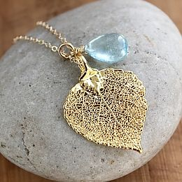 Gold Dipped Leaf and Blue Aquamarine Necklace #Handmade