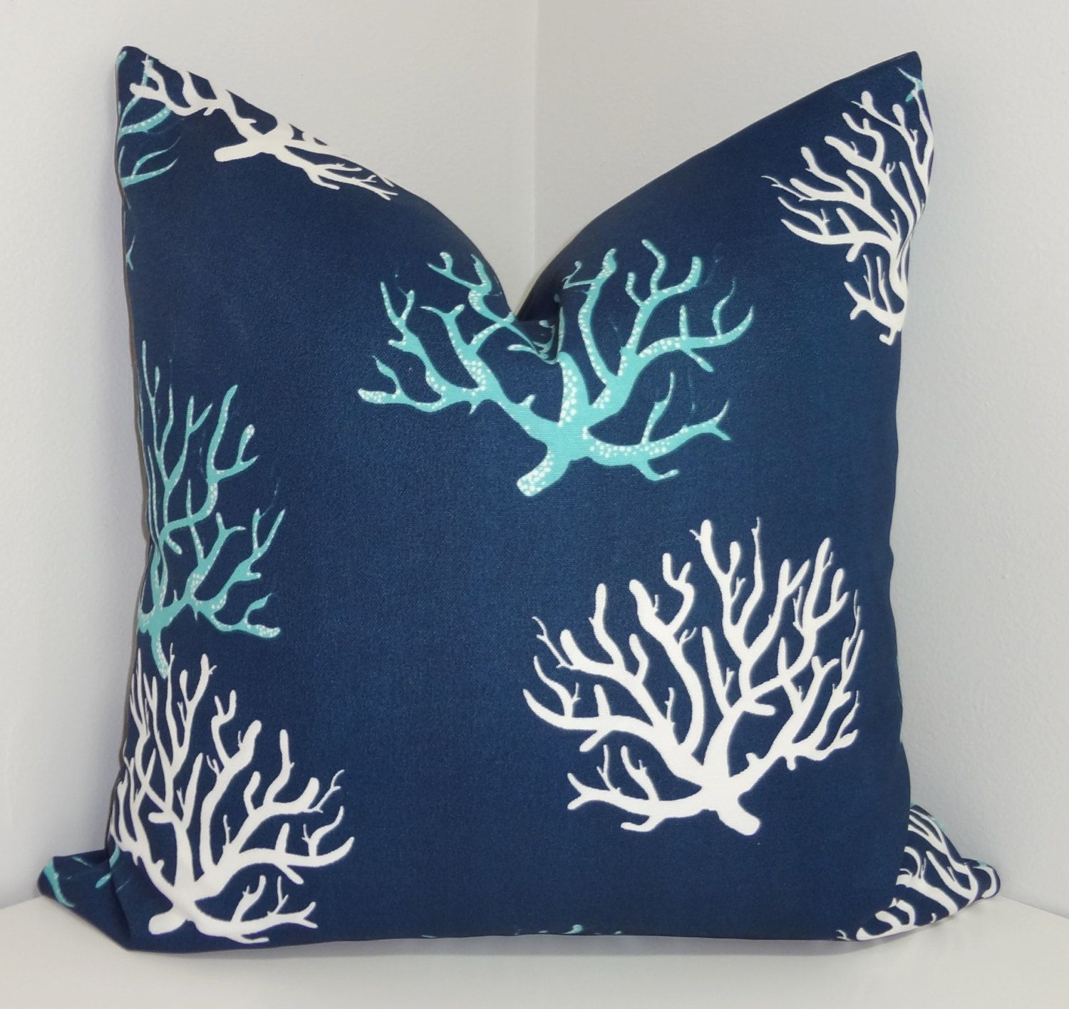 OUTDOOR Blue Navy White Coral Print Pillow Cushion by HomeLiving ...