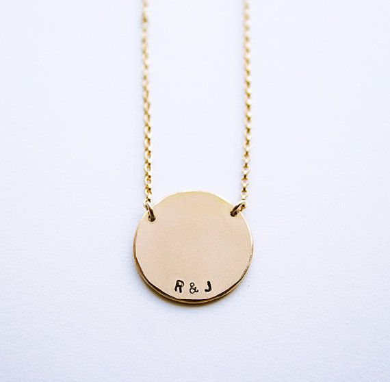 Round pendant necklace initial pendant necklace personalized round pendant necklace initial pendant necklace personalized round necklace name necklace handstamped aloadofball Image collections