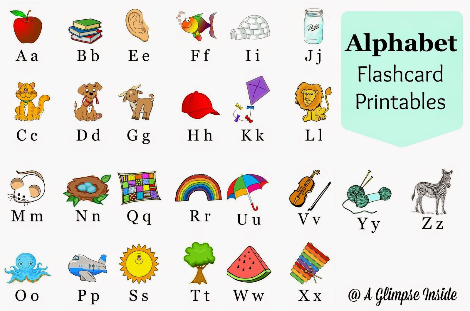 A Glimpse Inside Alphabet Flashcards Printables