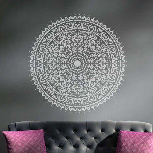 Mandala wall stencil decal round ornament home bedroom - Deko wand tapeten ...