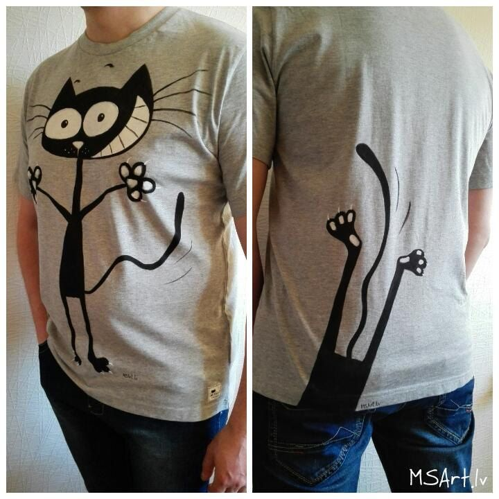 Black cat hand painted T-shirt 887f53a64