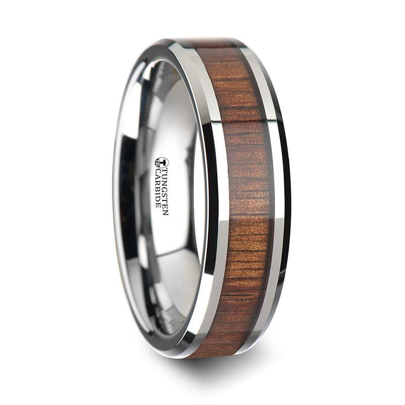 Koloa Koa Wood Inlay Tungsten Wedding Band With Bevels From Wedding Bands Hq Mens Wedding Rings Tungsten Wood Inlay Rings Tungsten Wood Rings