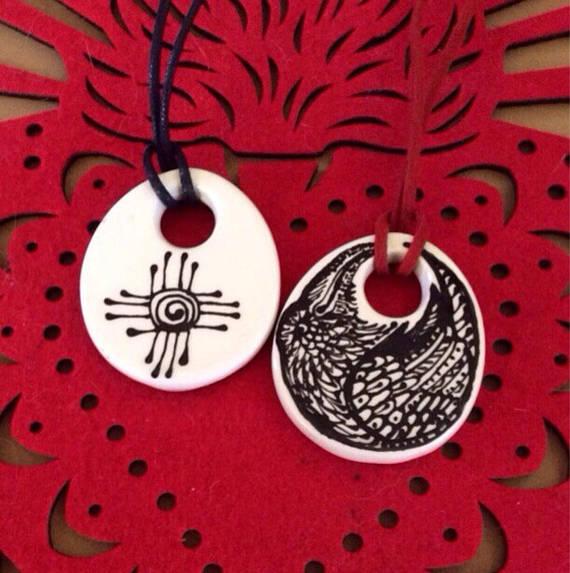 Zia Raven Talisman Pendant Handpainted Ceramic Ready To