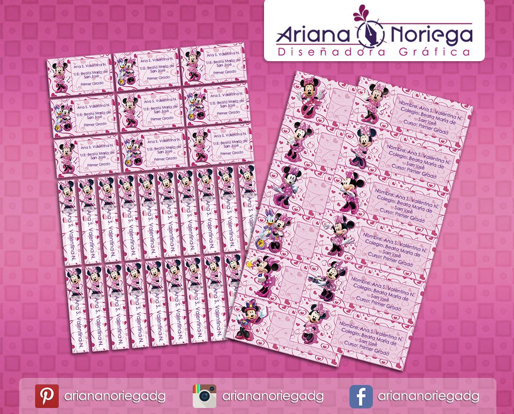 Kit Imprimible de #etiquetas personalizadas con el motivo #MinnieMouse.   3 tamaños: 9 x 3,5 cm, 5 x 1 cm y 5 x 3 cm.     Personalized and printable #labels pack - #MinnieMouse.    3 sizes: 9 x 3,5 cm, 5 x 1 cm and 5 x 3 cm.     Tienda/Shop: https://www.etsy.com/es/shop/ArianaDesignStore