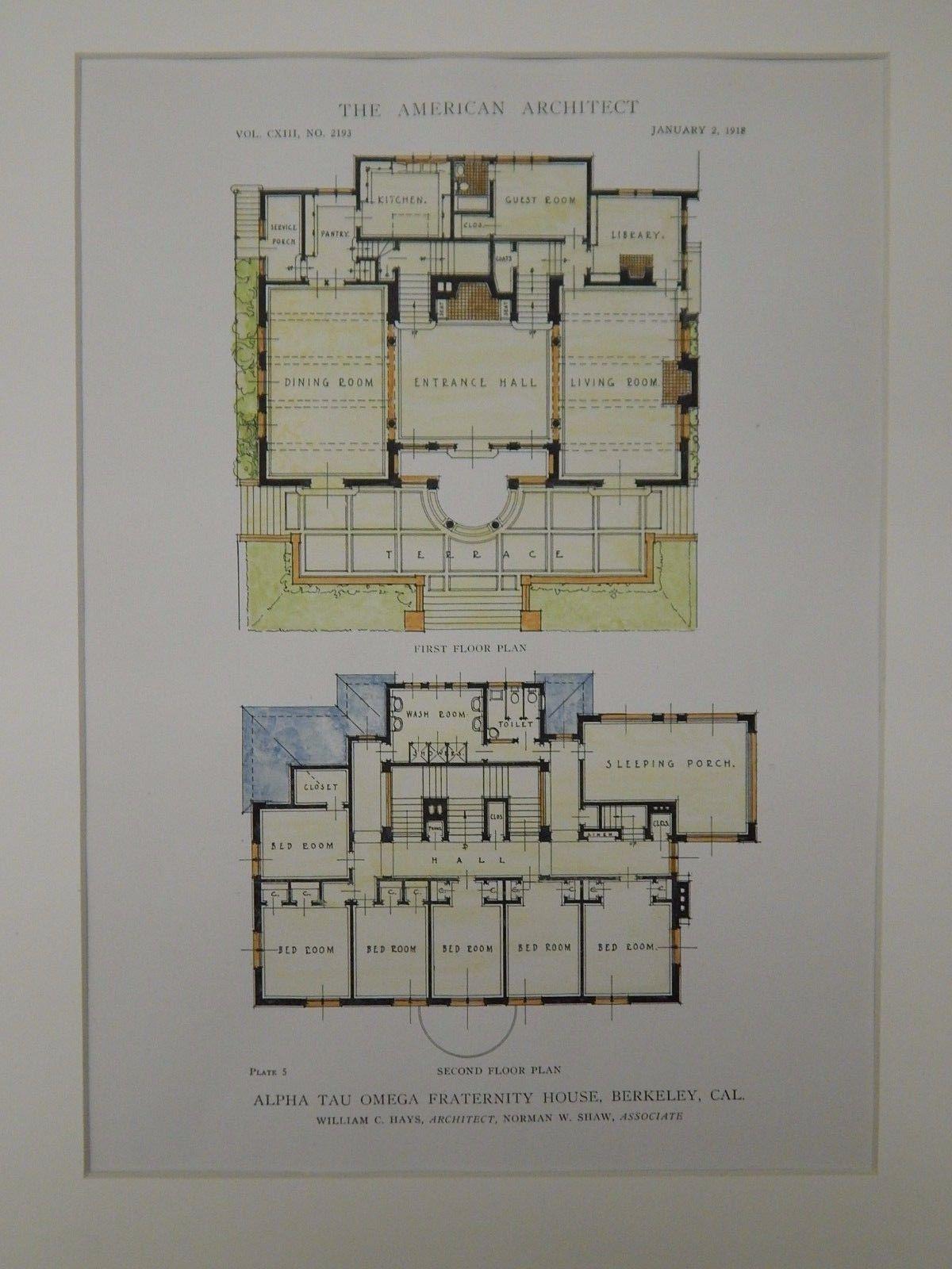 Floor Plans, Alpha Tau Omega Fraternity House, Berkeley, CA, 1918 ...