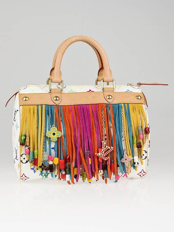 Louis Vuitton Limited Edition White Monogram Multicolore Fringe Speedy 25  Bag - Designers - LVN130909P 6ead3854ebef1