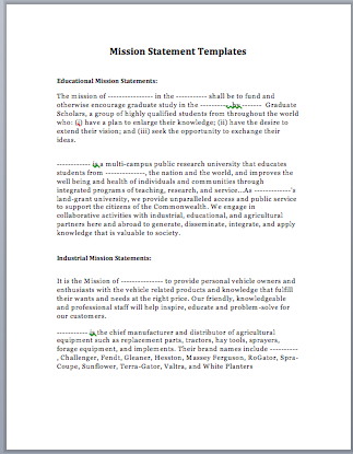Mission Statement Template Microsoft Word Templates FFfyrsc