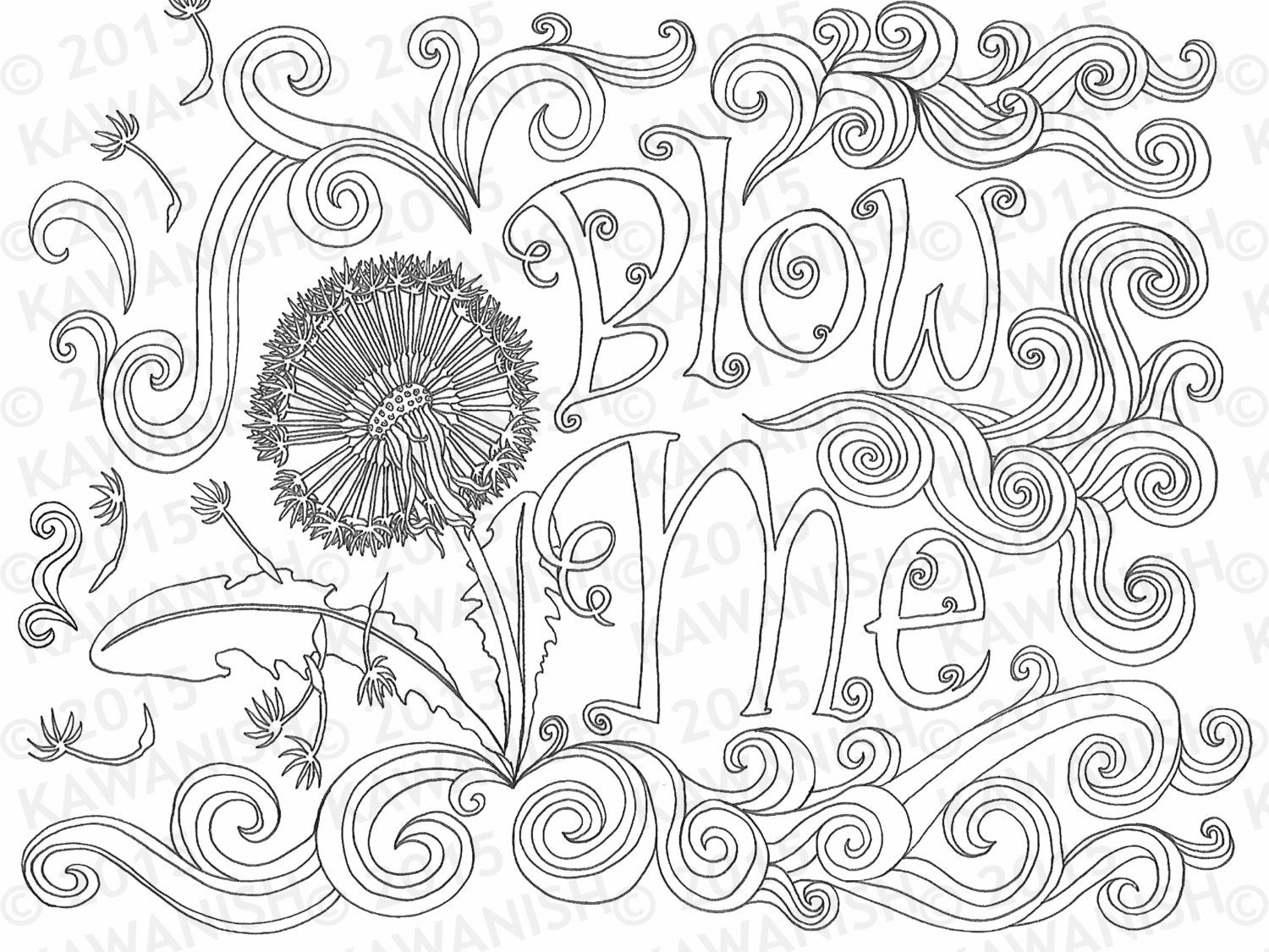 Swear word coloring book sarah bigwood - Blow Me Adult Coloring Page Dandelion Flower Gift Wall Art Funny Humor