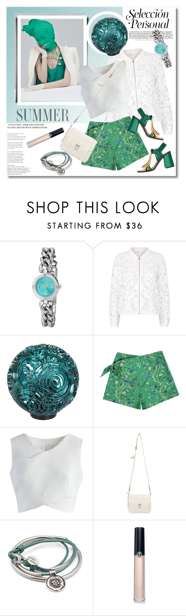 """Teal and white"" by vkmd ❤ liked on Polyvore featuring Christian Van Sant, Maje, Kartell, Samantha Pleet, Chicwish, Proenza Schouler, Lizzy James, Armani Beauty and GetTheLook"